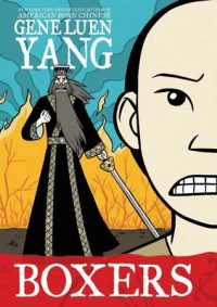 Book cover in graphic novel / cartoon manga style showing half a face grimacing and cloaked figure in black with sword.