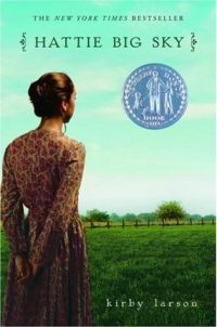 Book cover showing profile of young woman in pioneer dress looking over green farm land.