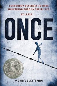 Once series book cover image of boy walking on barbed wire tight rope against threatening sky.