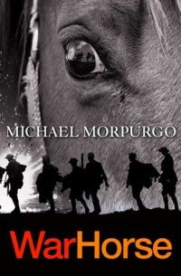 Book cover showing close up of left eye and face of a horse, overlaid with silhouette of soldiers.