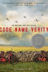 Book cover with war planes over field, red bikes leaning on stone fence in foreground.